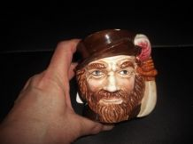 VINTAGE MINI TOBY CHARACTER JUG BEARDED GENT WITH PLUME HAT